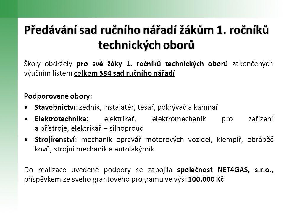 Předávání sad ručního nářadí žákům 1. ročníků technických oborů Školy obdržely pro své žáky 1.