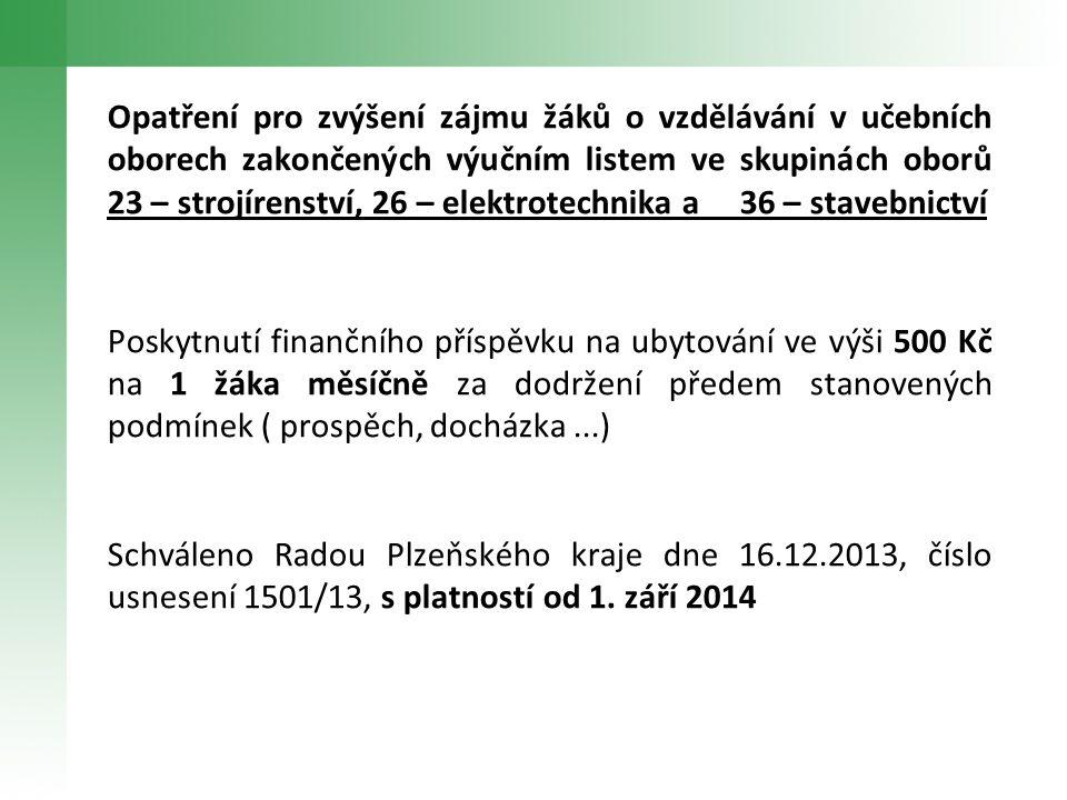 Opatření pro zvýšení zájmu žáků o vzdělávání v učebních oborech zakončených výučním listem ve skupinách oborů 23 – strojírenství, 26 – elektrotechnika a 36 – stavebnictví Poskytnutí finančního příspěvku na ubytování ve výši 500 Kč na 1 žáka měsíčně za dodržení předem stanovených podmínek ( prospěch, docházka...) Schváleno Radou Plzeňského kraje dne 16.12.2013, číslo usnesení 1501/13, s platností od 1.