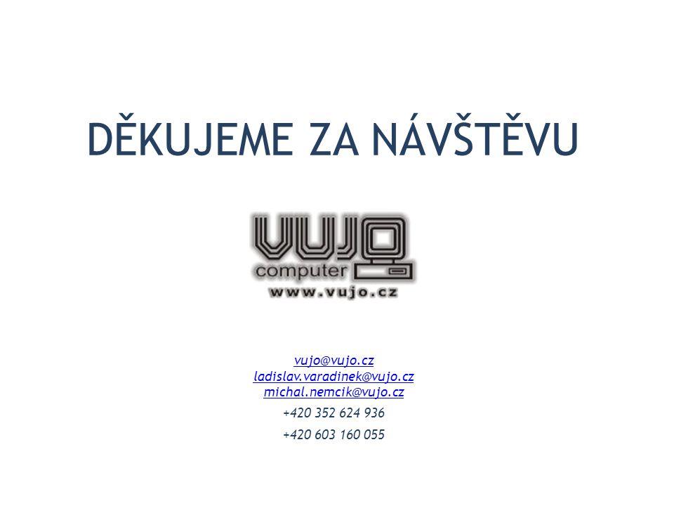 DĚKUJEME ZA NÁVŠTĚVU vujo@vujo.cz ladislav.varadinek@vujo.cz michal.nemcik@vujo.cz +420 352 624 936 +420 603 160 055
