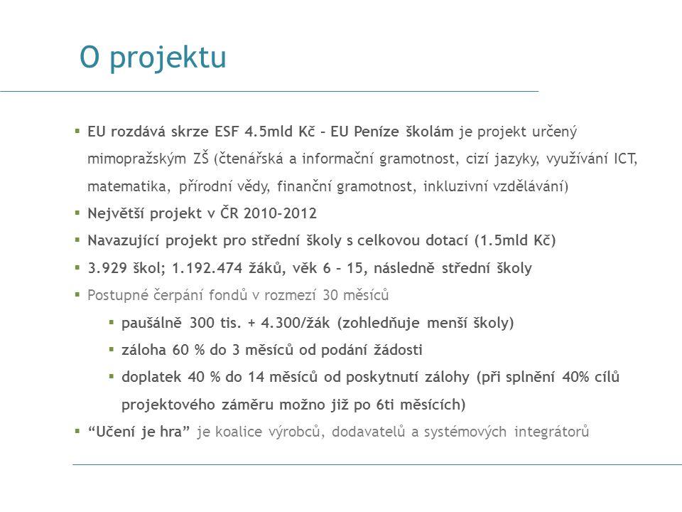  EU rozdává skrze ESF 4.5mld Kč – EU Peníze školám je projekt určený mimopražským ZŠ (čtenářská a informační gramotnost, cizí jazyky, využívání ICT,