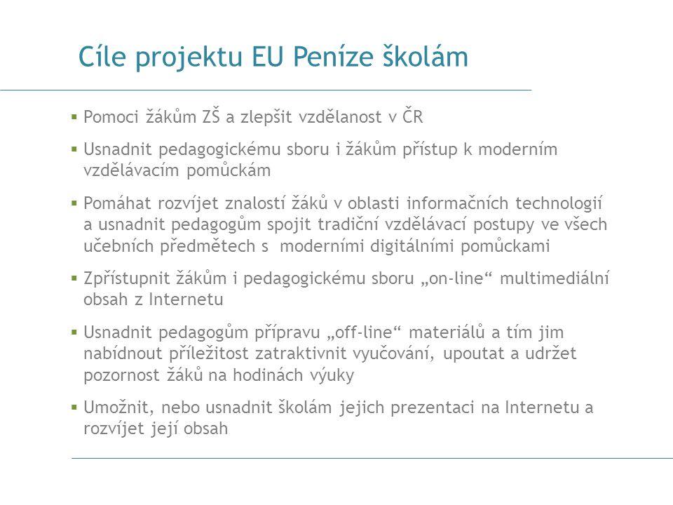 Cíle projektu EU Peníze školám  Pomoci žákům ZŠ a zlepšit vzdělanost v ČR  Usnadnit pedagogickému sboru i žákům přístup k moderním vzdělávacím pomůc