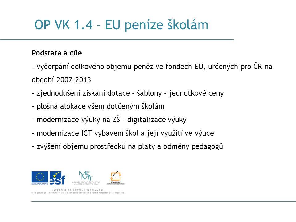 OP VK 1.4 – EU peníze školám Podstata a cíle - vyčerpání celkového objemu peněz ve fondech EU, určených pro ČR na období 2007-2013 - zjednodušení získ