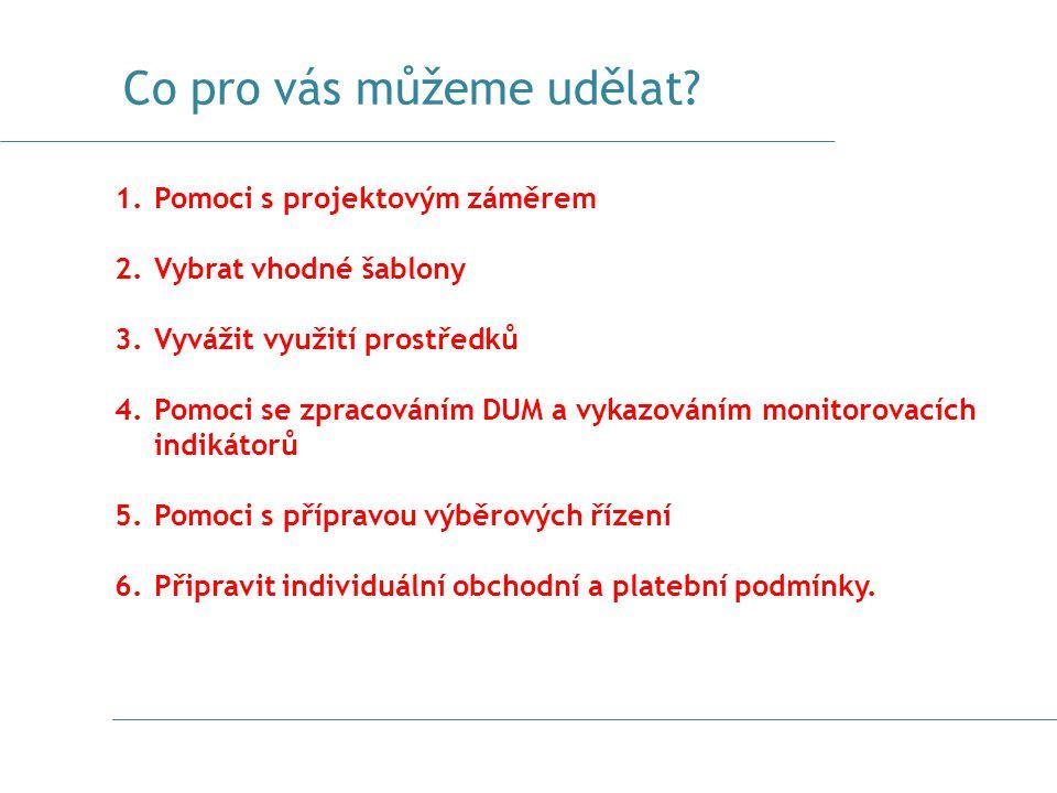 Co pro vás můžeme udělat? 1.Pomoci s projektovým záměrem 2.Vybrat vhodné šablony 3.Vyvážit využití prostředků 4.Pomoci se zpracováním DUM a vykazování