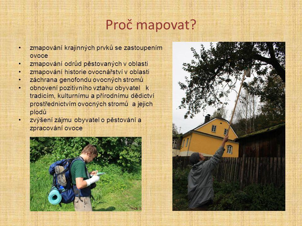 Proč mapovat? zmapování krajinných prvků se zastoupením ovoce zmapování odrůd pěstovaných v oblasti zmapování historie ovocnářství v oblasti záchrana