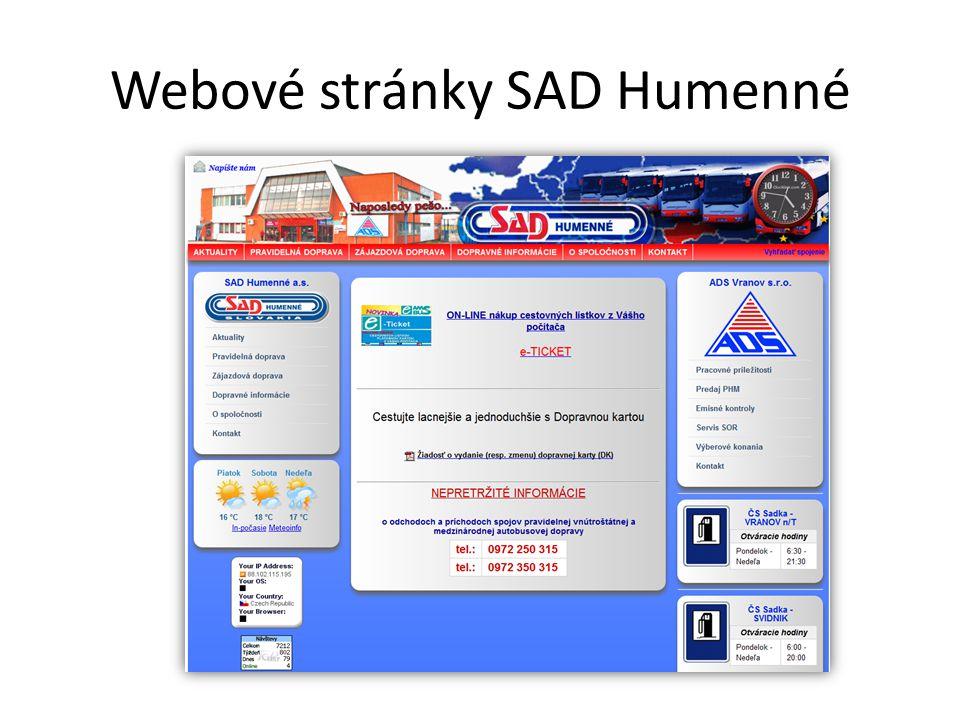 Webové stránky SAD Humenné
