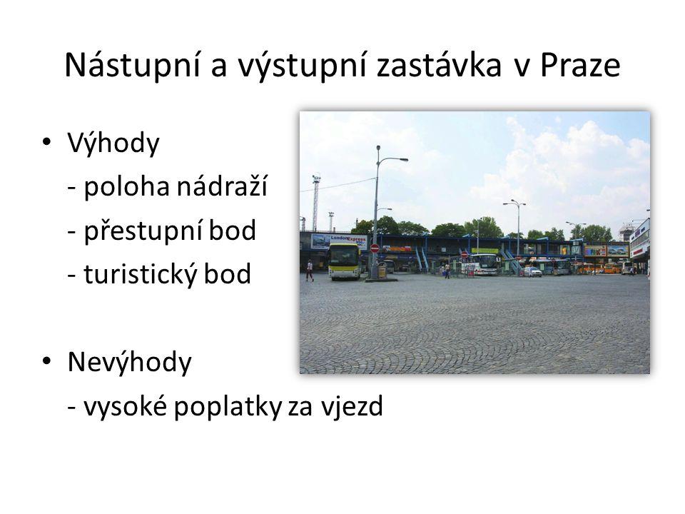 Nástupní a výstupní zastávka v Praze Výhody - poloha nádraží - přestupní bod - turistický bod Nevýhody - vysoké poplatky za vjezd