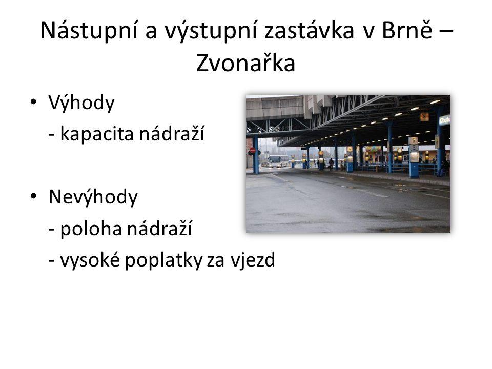 Nástupní a výstupní zastávka v Brně – Zvonařka Výhody - kapacita nádraží Nevýhody - poloha nádraží - vysoké poplatky za vjezd