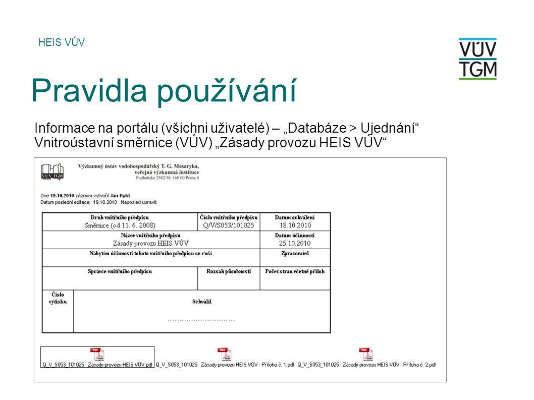 """HEIS VÚV Pravidla používání Informace na portálu (všichni uživatelé) – """"Databáze > Ujednání Vnitroústavní směrnice (VÚV) """"Zásady provozu HEIS VÚV"""