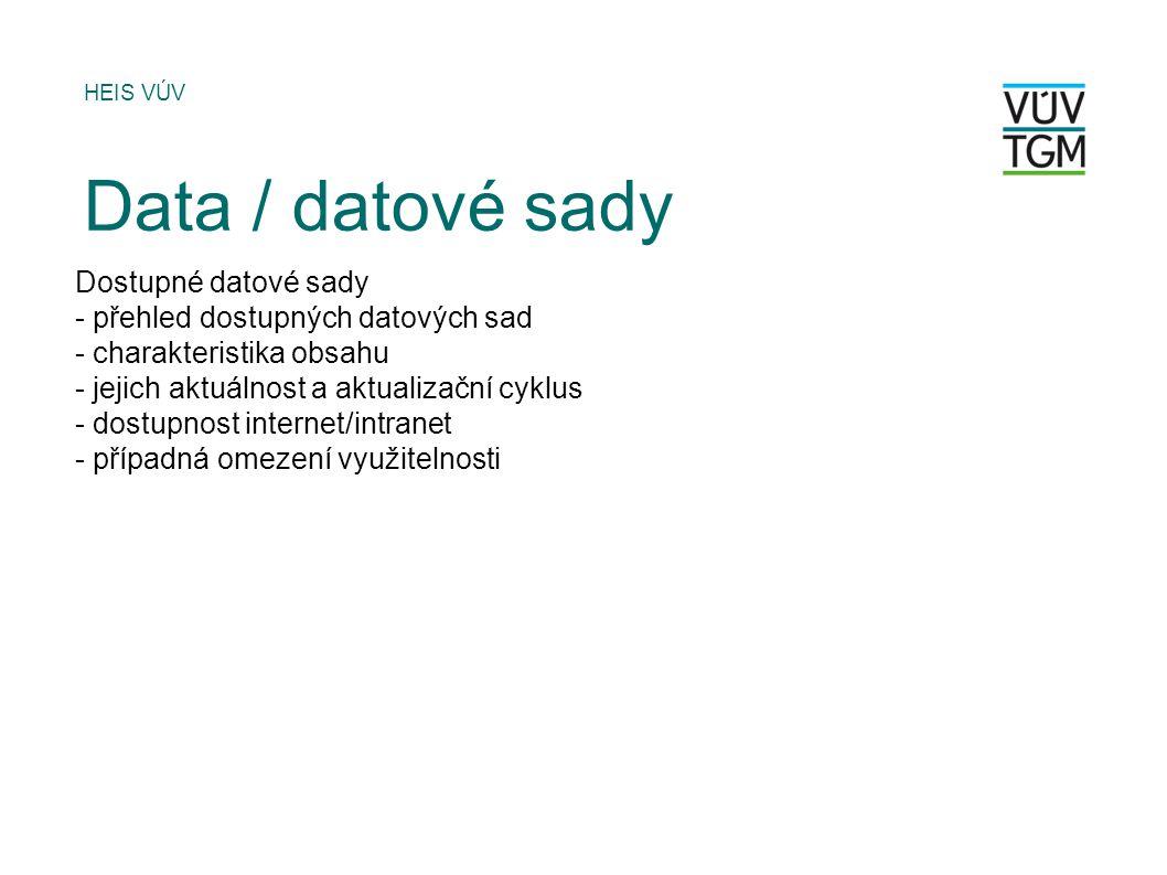 Dostupné datové sady - přehled dostupných datových sad - charakteristika obsahu - jejich aktuálnost a aktualizační cyklus - dostupnost internet/intranet - případná omezení využitelnosti HEIS VÚV Data / datové sady