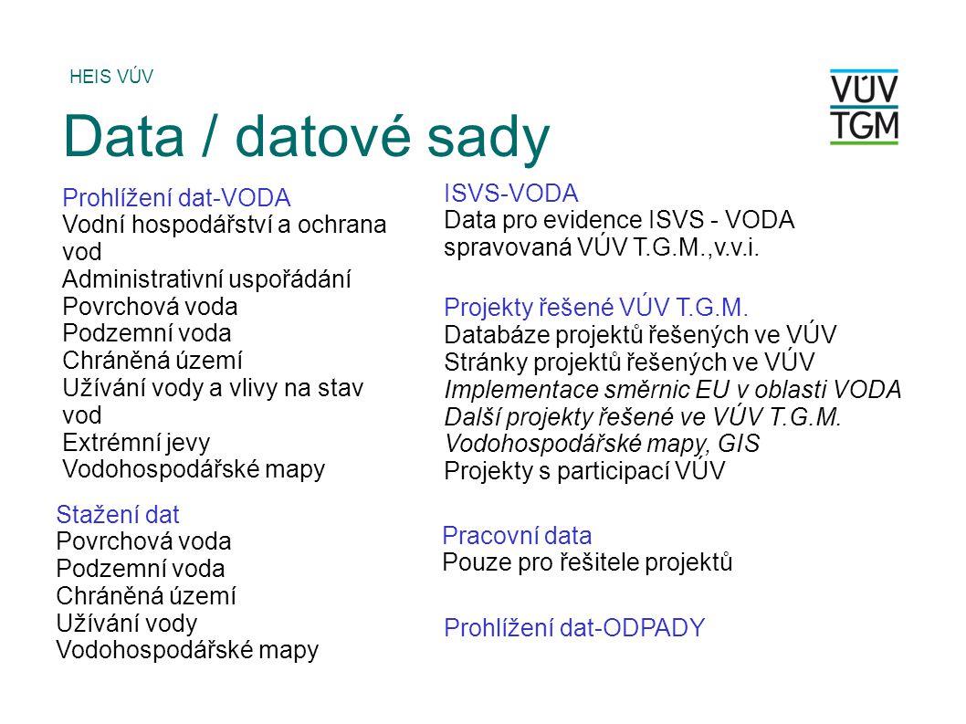 Prohlížení dat-VODA Vodní hospodářství a ochrana vod Administrativní uspořádání Povrchová voda Podzemní voda Chráněná území Užívání vody a vlivy na stav vod Extrémní jevy Vodohospodářské mapy HEIS VÚV Data / datové sady ISVS-VODA Data pro evidence ISVS - VODA spravovaná VÚV T.G.M.,v.v.i.