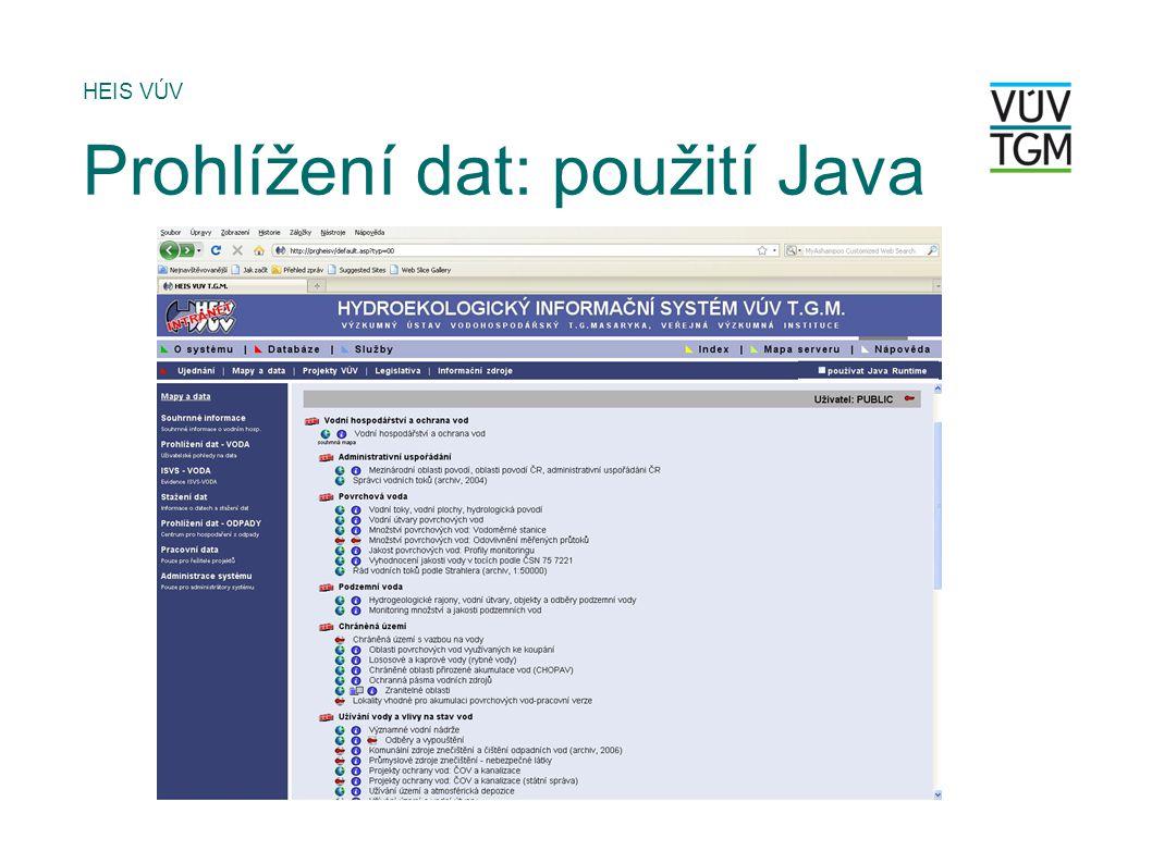 HEIS VÚV Prohlížení dat: použití Java