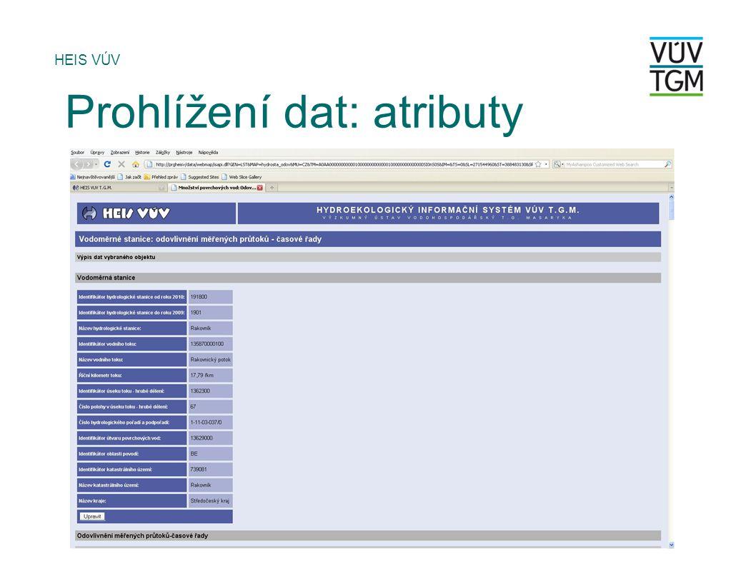 HEIS VÚV Prohlížení dat: atributy