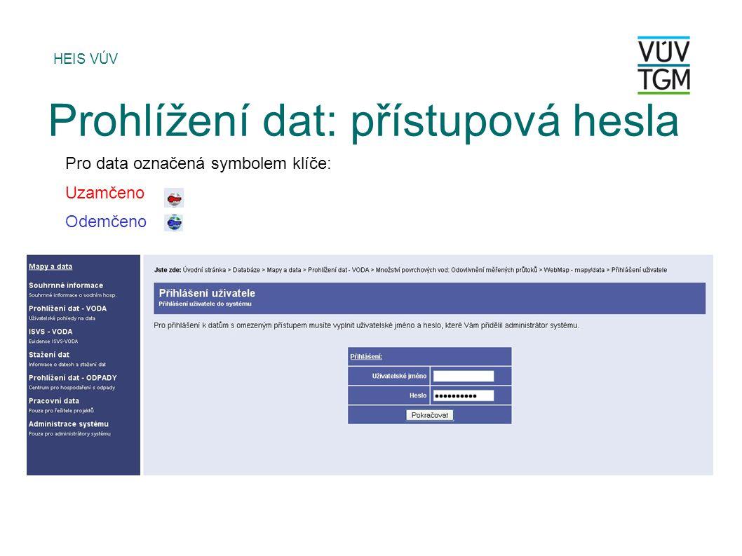 HEIS VÚV Prohlížení dat: přístupová hesla Pro data označená symbolem klíče: Uzamčeno Odemčeno