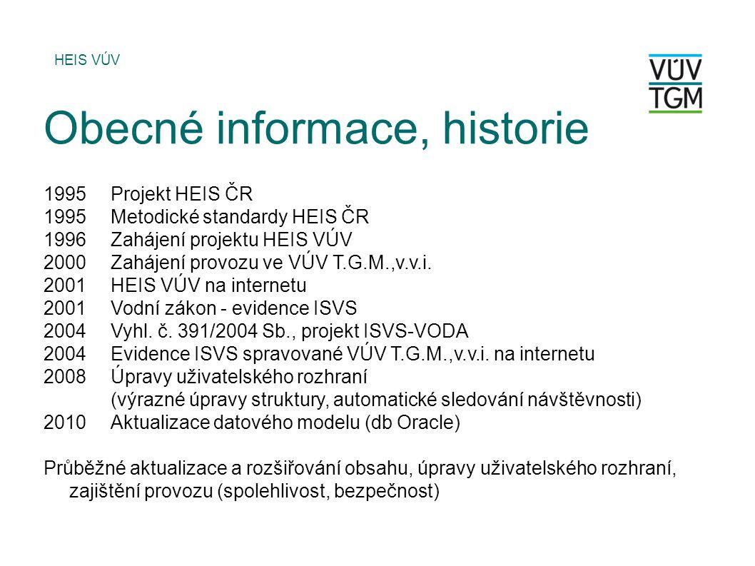 1995Projekt HEIS ČR 1995Metodické standardy HEIS ČR 1996Zahájení projektu HEIS VÚV 2000Zahájení provozu ve VÚV T.G.M.,v.v.i. 2001HEIS VÚV na internetu