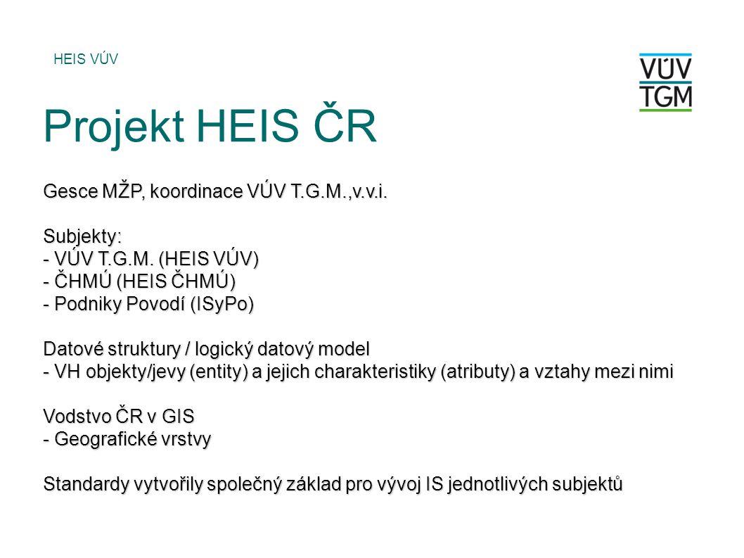 Gesce MŽP, koordinace VÚV T.G.M.,v.v.i. Subjekty: - VÚV T.G.M. (HEIS VÚV) - ČHMÚ (HEIS ČHMÚ) - Podniky Povodí (ISyPo) Datové struktury / logický datov