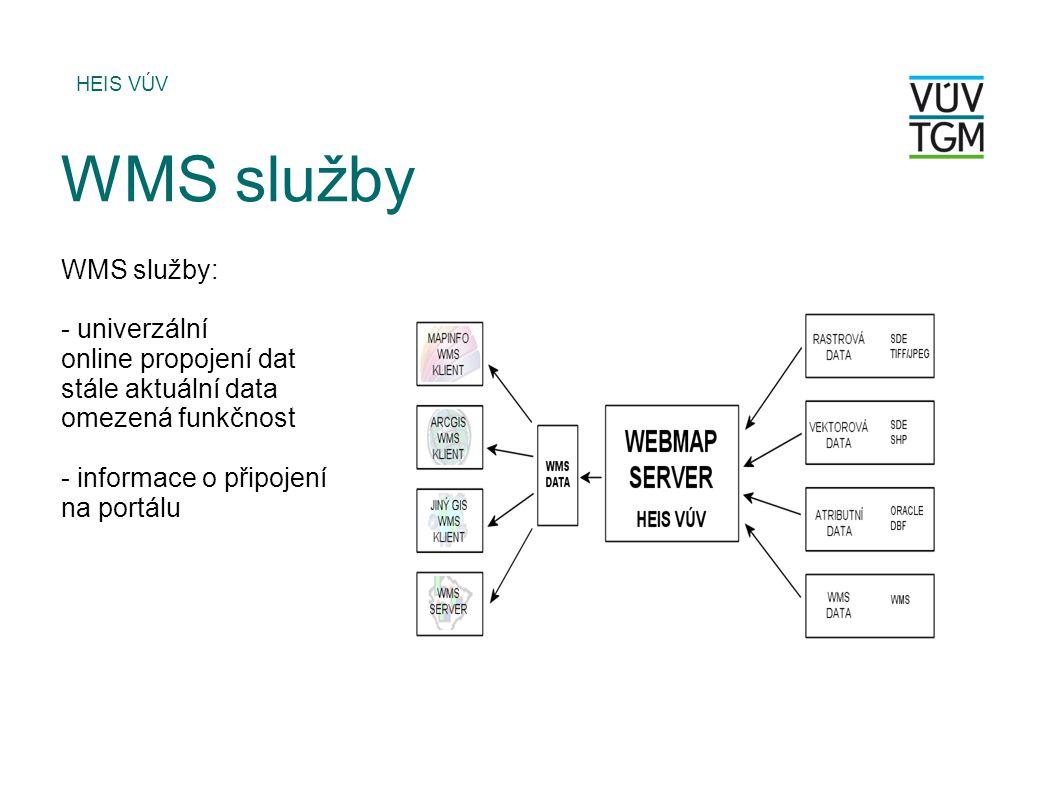 HEIS VÚV WMS služby WMS služby: - univerzální online propojení dat stále aktuální data omezená funkčnost - informace o připojení na portálu