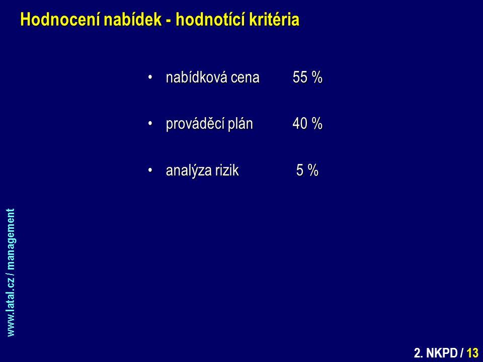 www.latal.cz / management 2. NKPD / 13 Hodnocení nabídek - hodnotící kritéria nabídková cena55 %nabídková cena55 % prováděcí plán40 %prováděcí plán40
