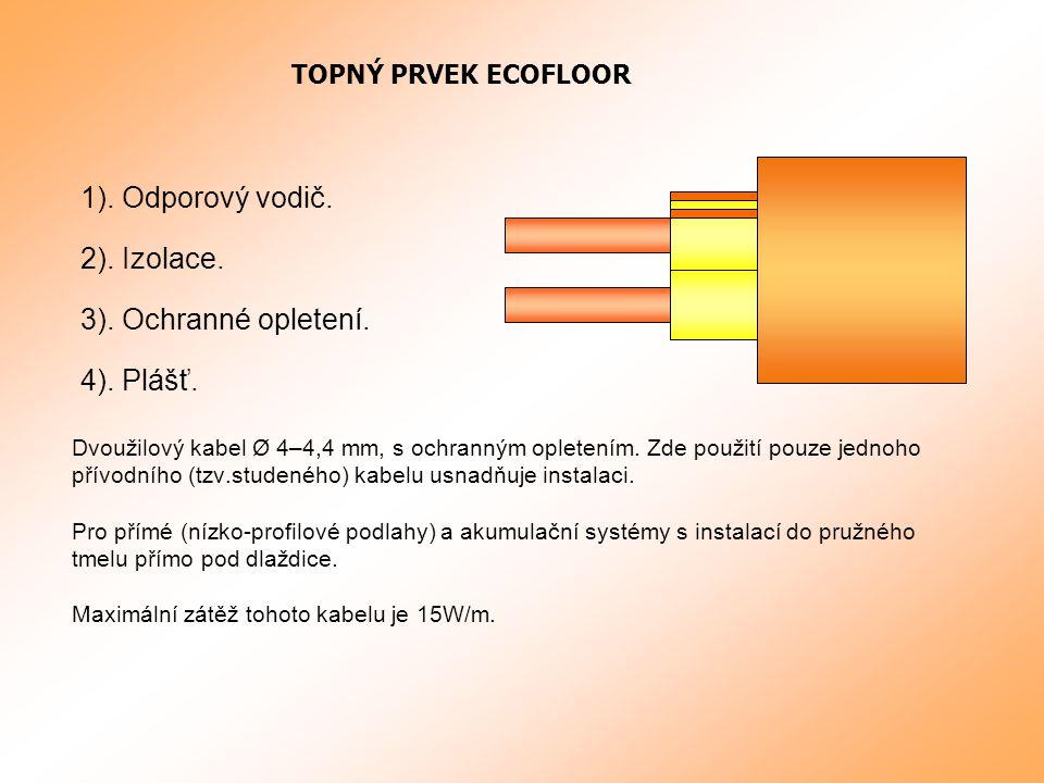 1).Odporový vodič. Dvoužilový kabel Ø 4–4,4 mm, s ochranným opletením.