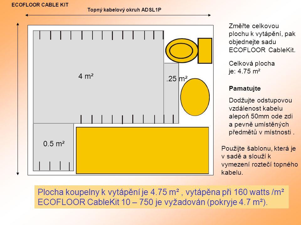 Změřte celkovou plochu k vytápění, pak objednejte sadu ECOFLOOR CableKit.