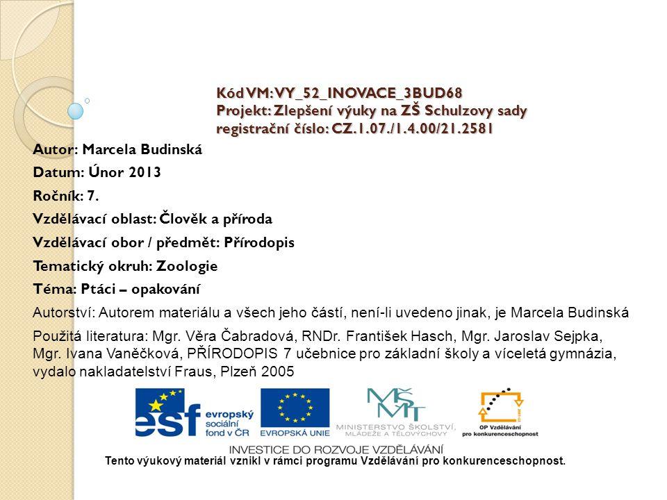 Kód VM: VY_52_INOVACE_3BUD68 Projekt: Zlepšení výuky na ZŠ Schulzovy sady registrační číslo: CZ.1.07./1.4.00/21.2581 Autor: Marcela Budinská Datum: Únor 2013 Ročník: 7.