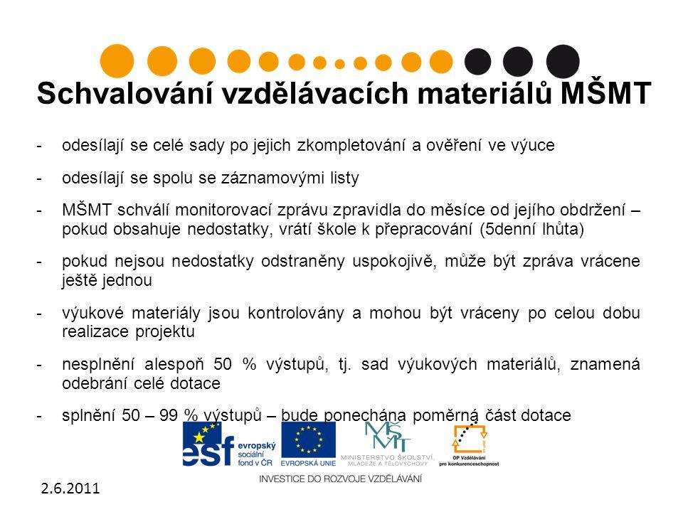 Schvalování vzdělávacích materiálů MŠMT -odesílají se celé sady po jejich zkompletování a ověření ve výuce -odesílají se spolu se záznamovými listy -M