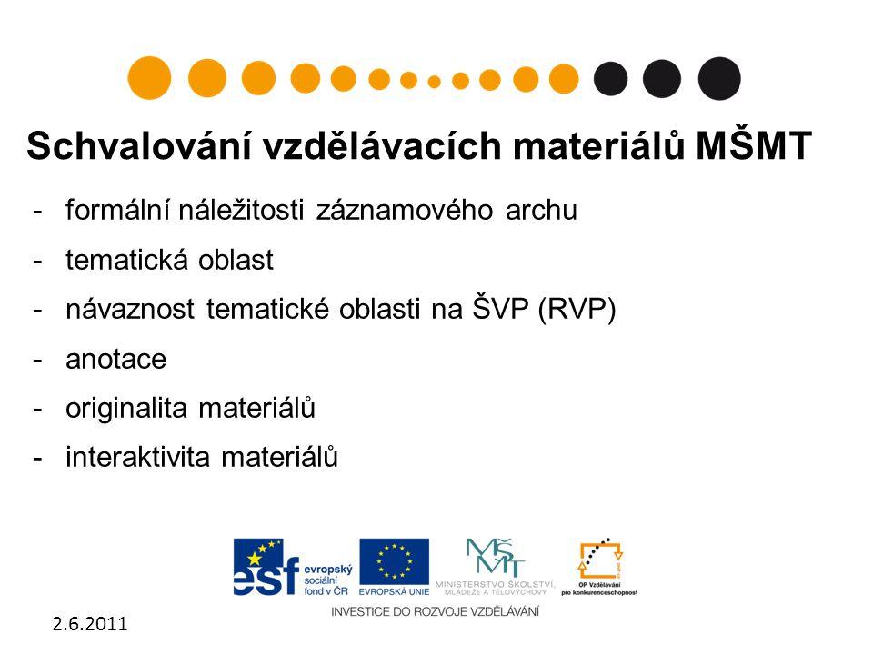 Schvalování vzdělávacích materiálů MŠMT -formální náležitosti záznamového archu -tematická oblast -návaznost tematické oblasti na ŠVP (RVP) -anotace -