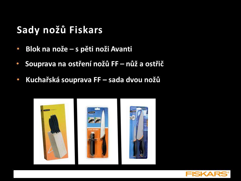 Sady nožů Fiskars Blok na nože – s pěti noži Avanti Souprava na ostření nožů FF – nůž a ostřič Kuchařská souprava FF – sada dvou nožů