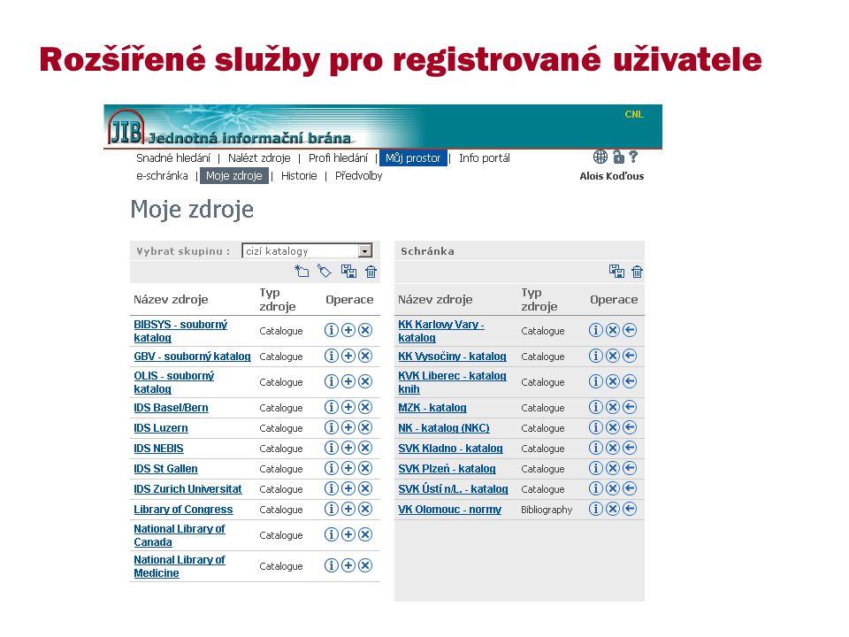Rozšířené služby pro registrované uživatele