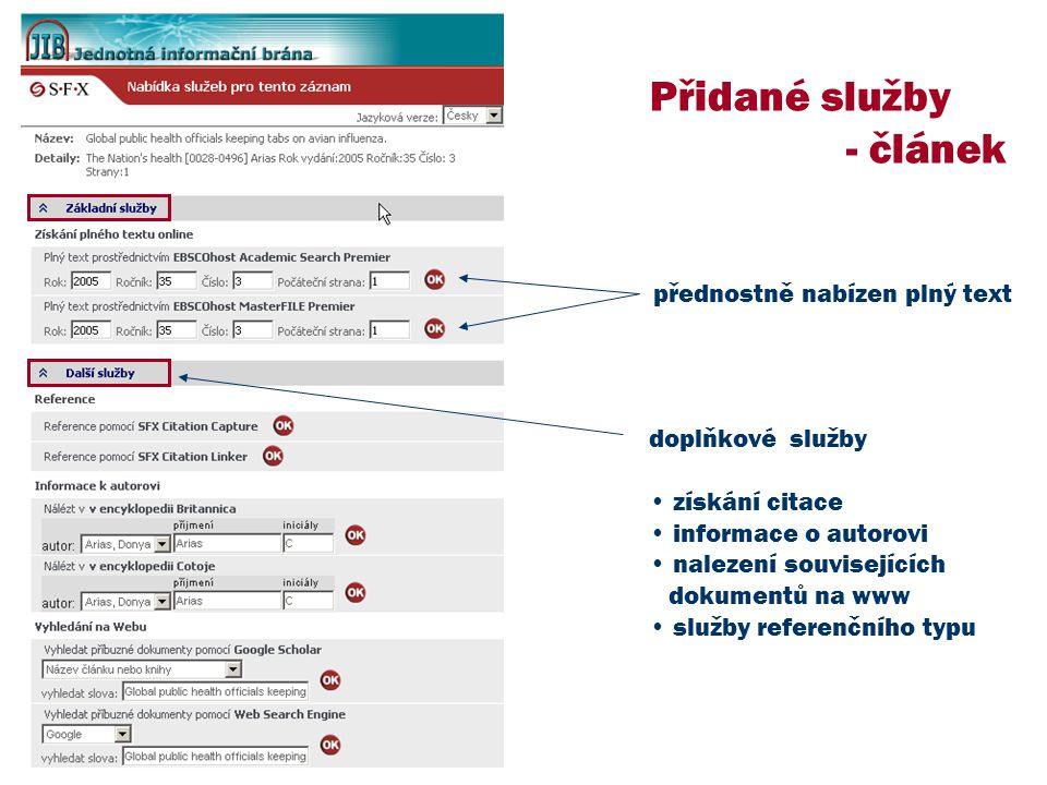 Přidané služby - článek přednostně nabízen plný text doplňkové služby získání citace informace o autorovi nalezení souvisejících dokumentů na www služby referenčního typu