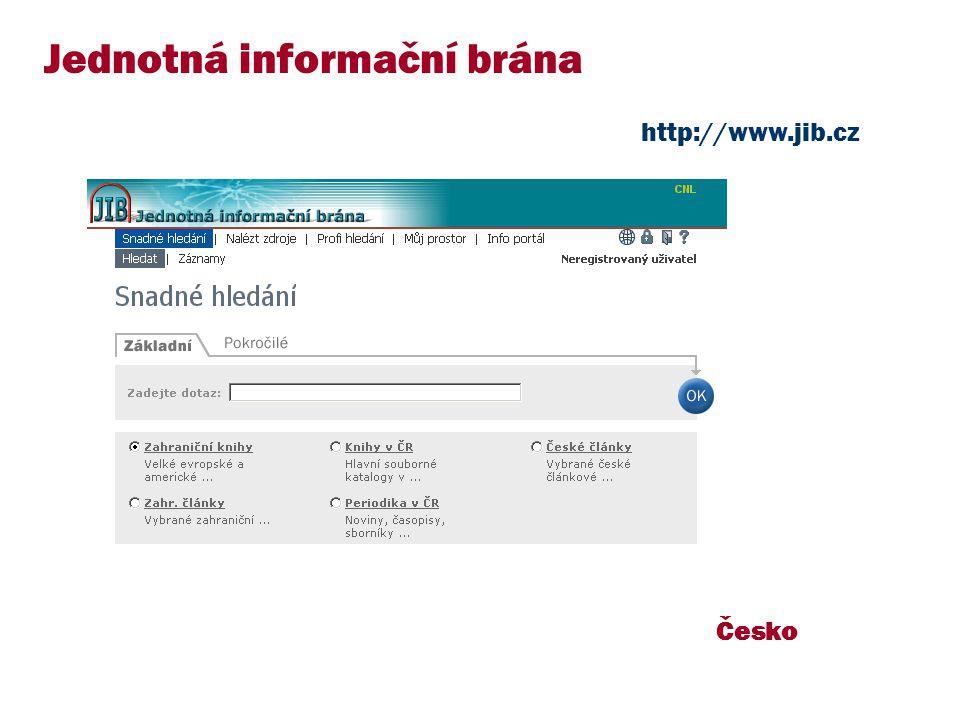 Česko Jednotná informační brána http://www.jib.cz