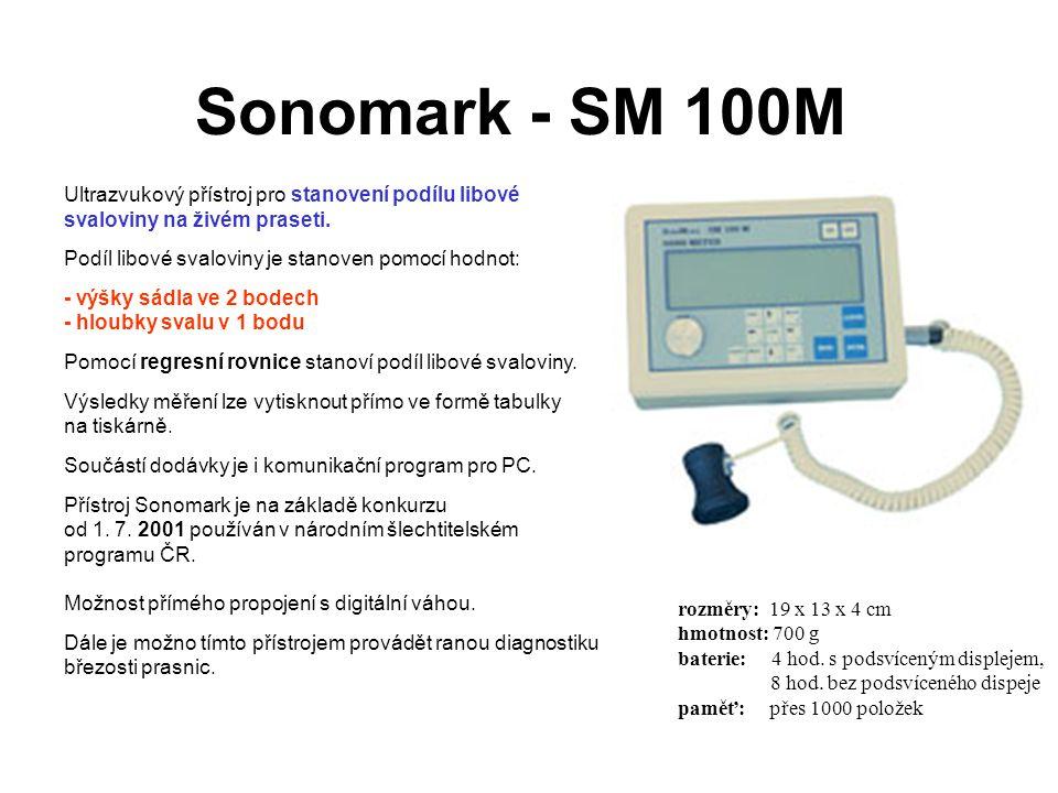 Ultrazvukový přístroj pro stanovení podílu libové svaloviny na živém praseti. Podíl libové svaloviny je stanoven pomocí hodnot: - výšky sádla ve 2 bod
