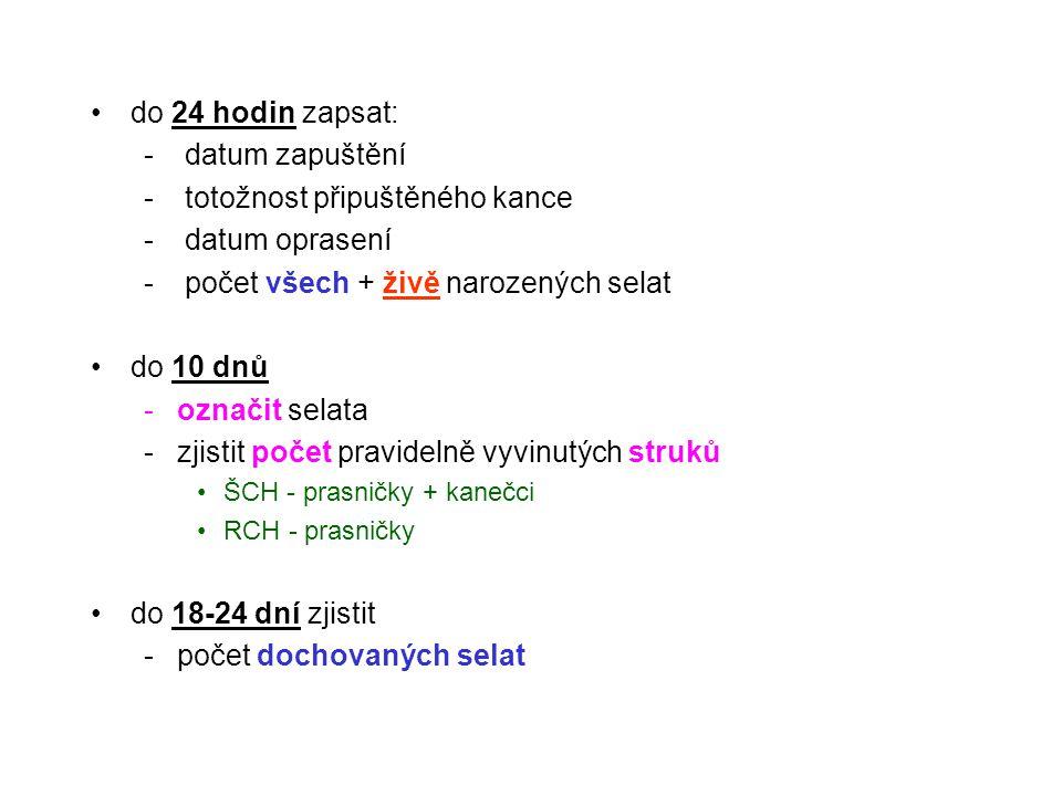 do 24 hodin zapsat: - datum zapuštění - totožnost připuštěného kance - datum oprasení - počet všech + živě narozených selat do 10 dnů -označit selata