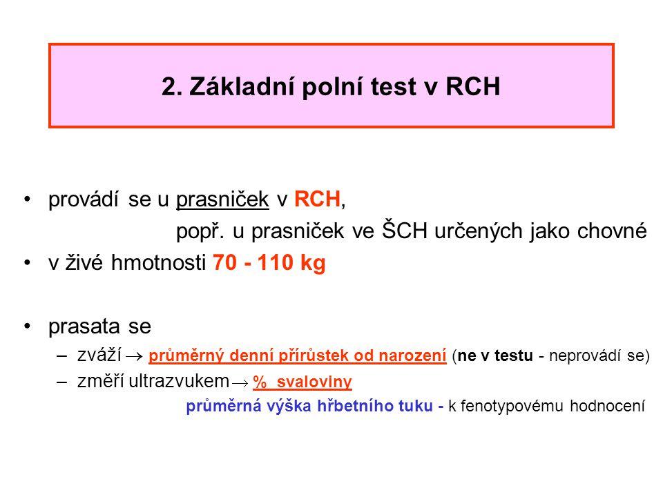 2. Základní polní test v RCH provádí se u prasniček v RCH, popř. u prasniček ve ŠCH určených jako chovné v živé hmotnosti 70 - 110 kg prasata se –zváž