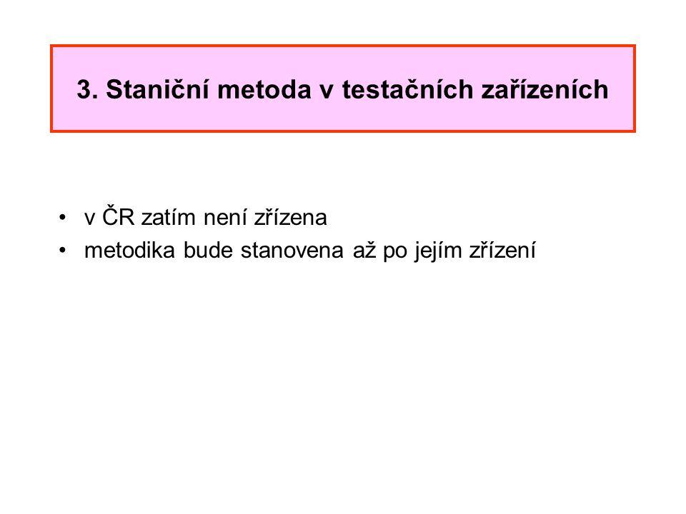 3. Staniční metoda v testačních zařízeních v ČR zatím není zřízena metodika bude stanovena až po jejím zřízení