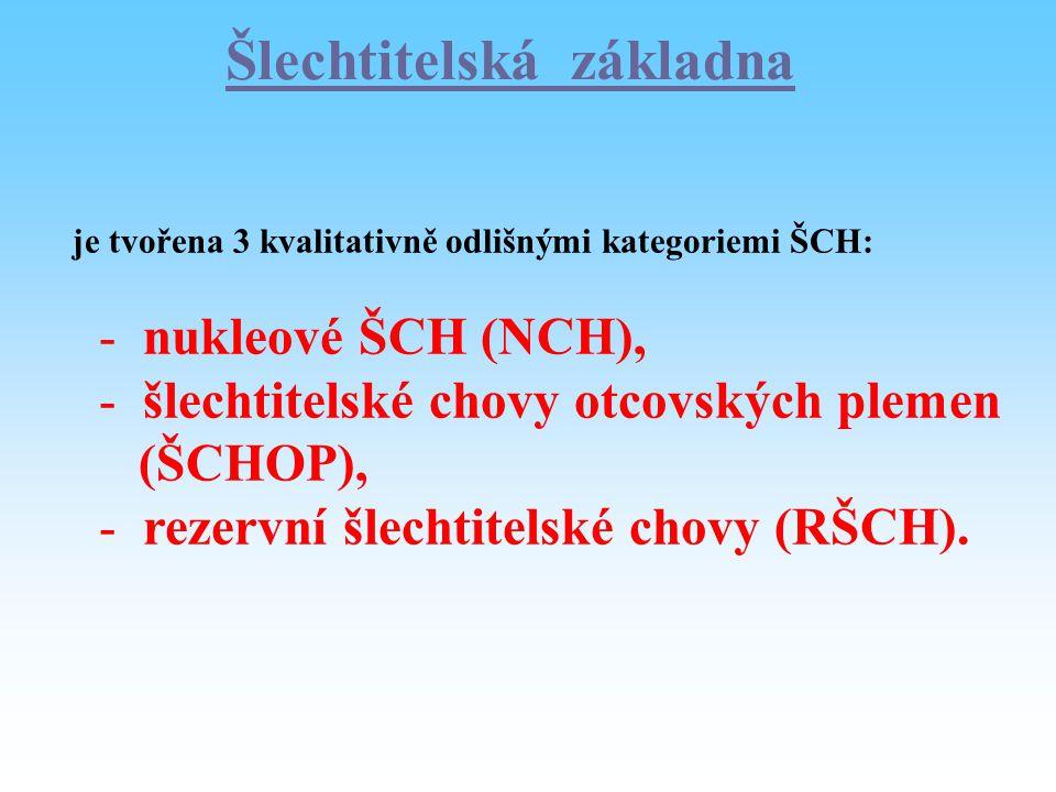 Šlechtitelská základna je tvořena 3 kvalitativně odlišnými kategoriemi ŠCH: - nukleové ŠCH (NCH), - šlechtitelské chovy otcovských plemen (ŠCHOP), - r