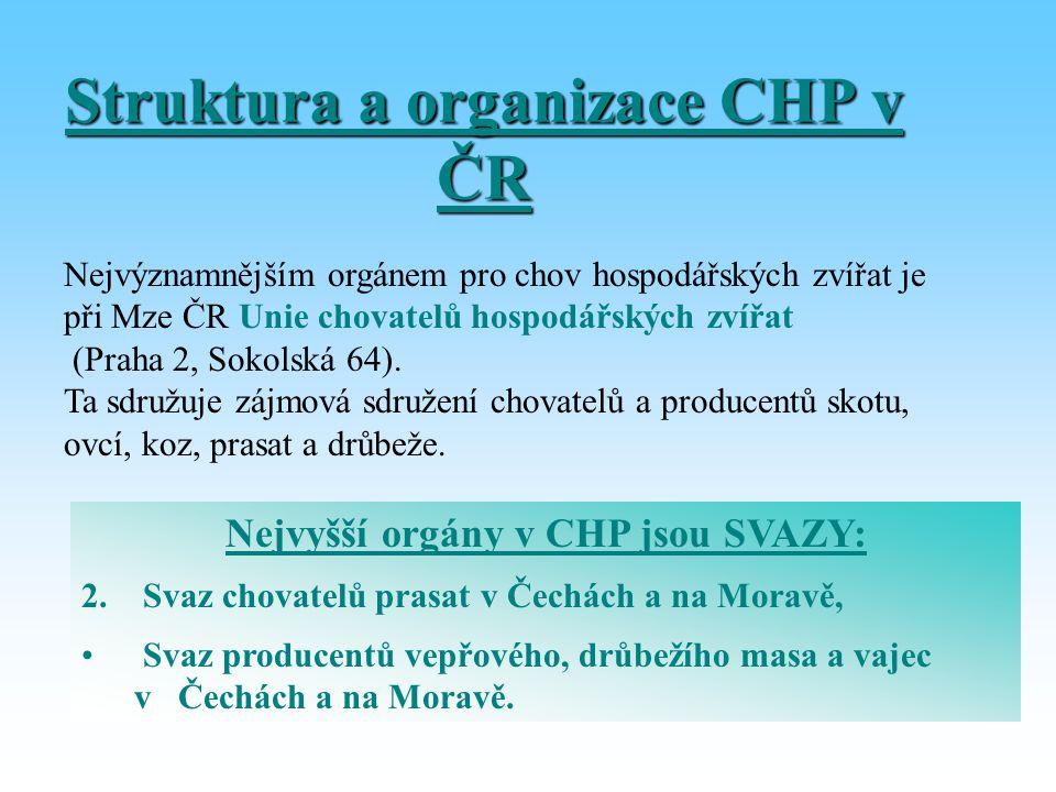 Struktura a organizace CHP v ČR Nejvýznamnějším orgánem pro chov hospodářských zvířat je při Mze ČR Unie chovatelů hospodářských zvířat (Praha 2, Soko
