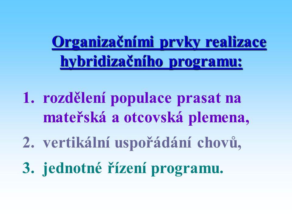 Organizačními prvky realizace hybridizačního programu: 1. rozdělení populace prasat na mateřská a otcovská plemena, 2. vertikální uspořádání chovů, 3.