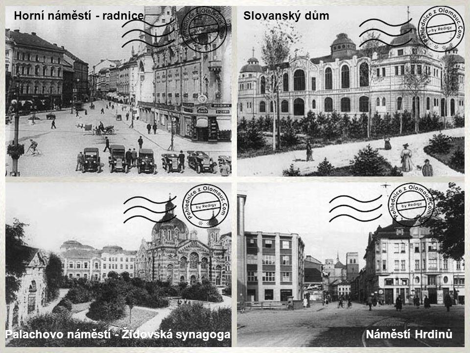 Dolní náměstí Náměstí Hrdinů v pozadí Červený kostel Havlíčkova ulice vpravo okresní soud Ulice 8. května chrám Sv. Mořice