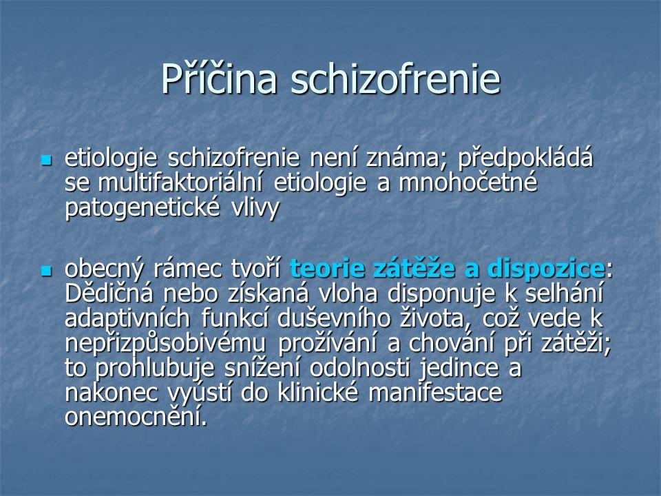 Příčina schizofrenie etiologie schizofrenie není známa; předpokládá se multifaktoriální etiologie a mnohočetné patogenetické vlivy etiologie schizofre
