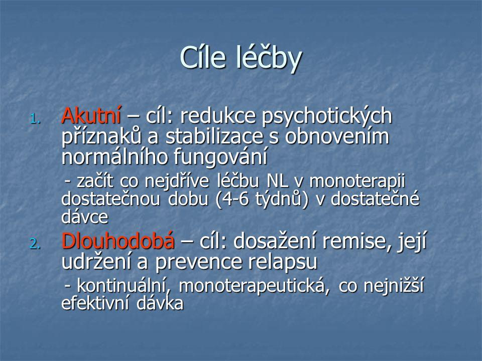 Cíle léčby 1. Akutní – cíl: redukce psychotických příznaků a stabilizace s obnovením normálního fungování - začít co nejdříve léčbu NL v monoterapii d