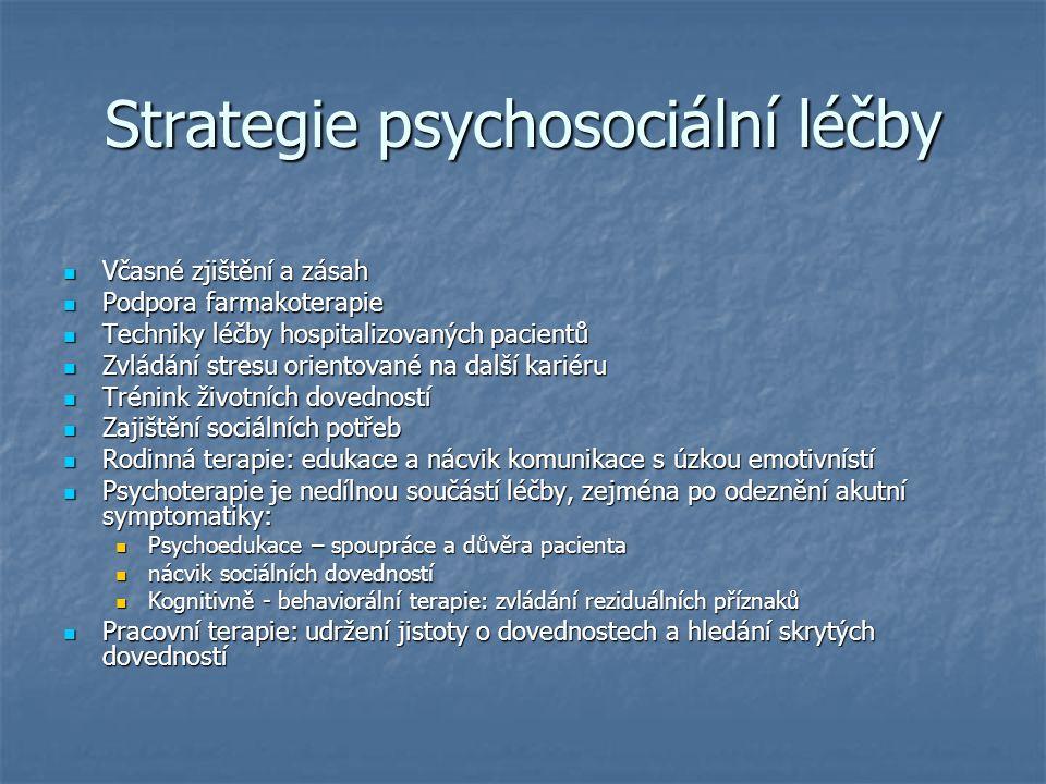 Strategie psychosociální léčby Včasné zjištění a zásah Včasné zjištění a zásah Podpora farmakoterapie Podpora farmakoterapie Techniky léčby hospitaliz