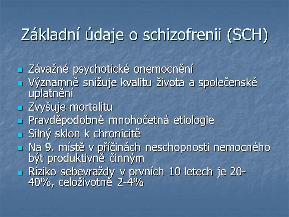 Základní údaje o schizofrenii (SCH) Závažné psychotické onemocnění Závažné psychotické onemocnění Významně snižuje kvalitu života a společenské uplatn