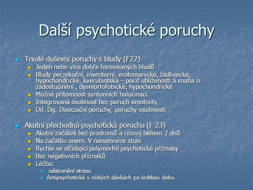 Další psychotické poruchy Trvalé duševní poruchy s bludy (F22) Trvalé duševní poruchy s bludy (F22) Jeden nebo více dobře formovaných bludů Jeden nebo