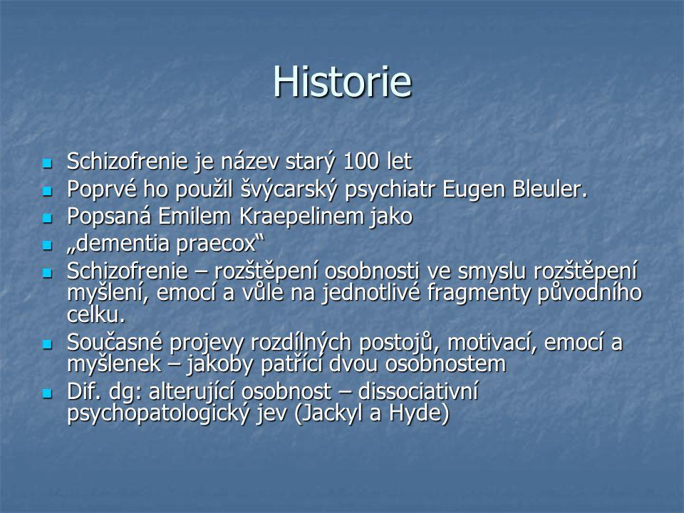 Historie Schizofrenie je název starý 100 let Schizofrenie je název starý 100 let Poprvé ho použil švýcarský psychiatr Eugen Bleuler. Poprvé ho použil