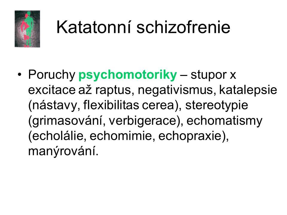 Katatonní schizofrenie Poruchy psychomotoriky – stupor x excitace až raptus, negativismus, katalepsie (nástavy, flexibilitas cerea), stereotypie (grimasování, verbigerace), echomatismy (echolálie, echomimie, echopraxie), manýrování.