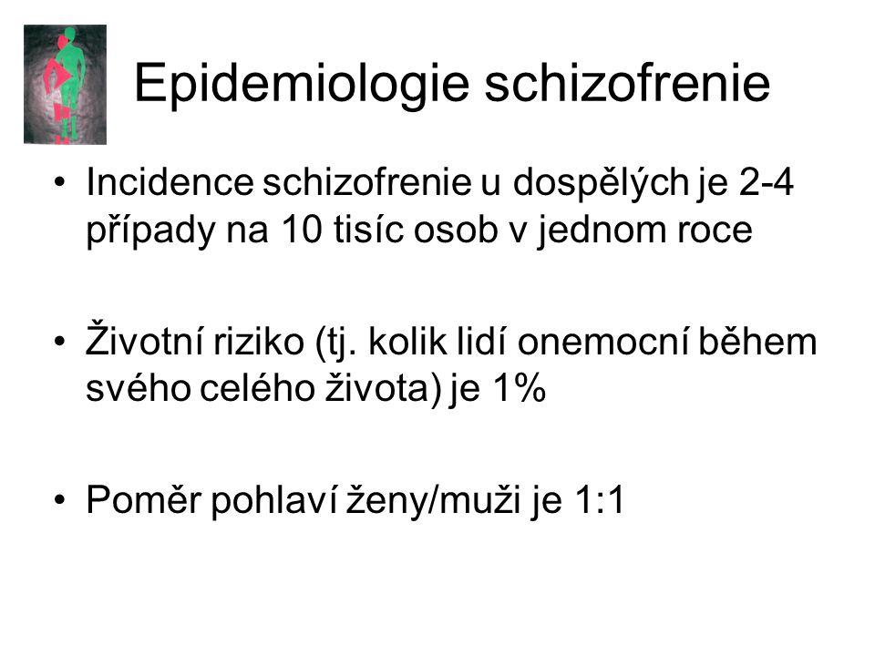 Epidemiologie schizofrenie Incidence schizofrenie u dospělých je 2-4 případy na 10 tisíc osob v jednom roce Životní riziko (tj.