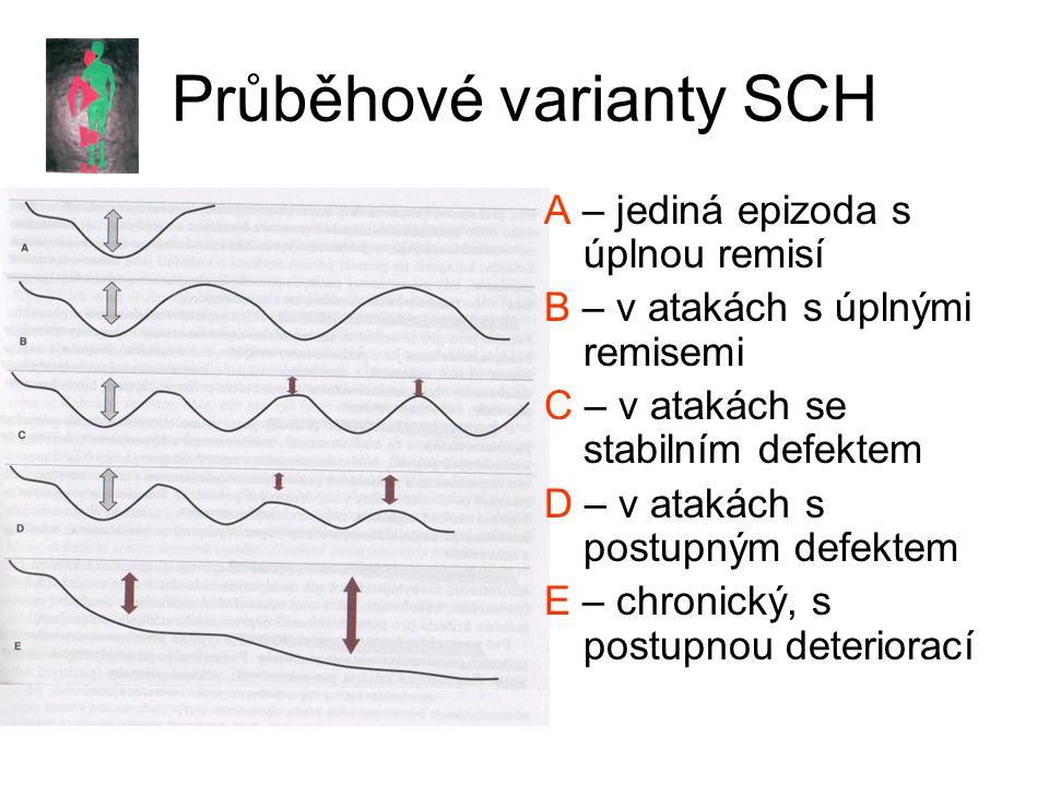 Průběhové varianty SCH A – jediná epizoda s úplnou remisí B – v atakách s úplnými remisemi C – v atakách se stabilním defektem D – v atakách s postupným defektem E – chronický, s postupnou deteriorací