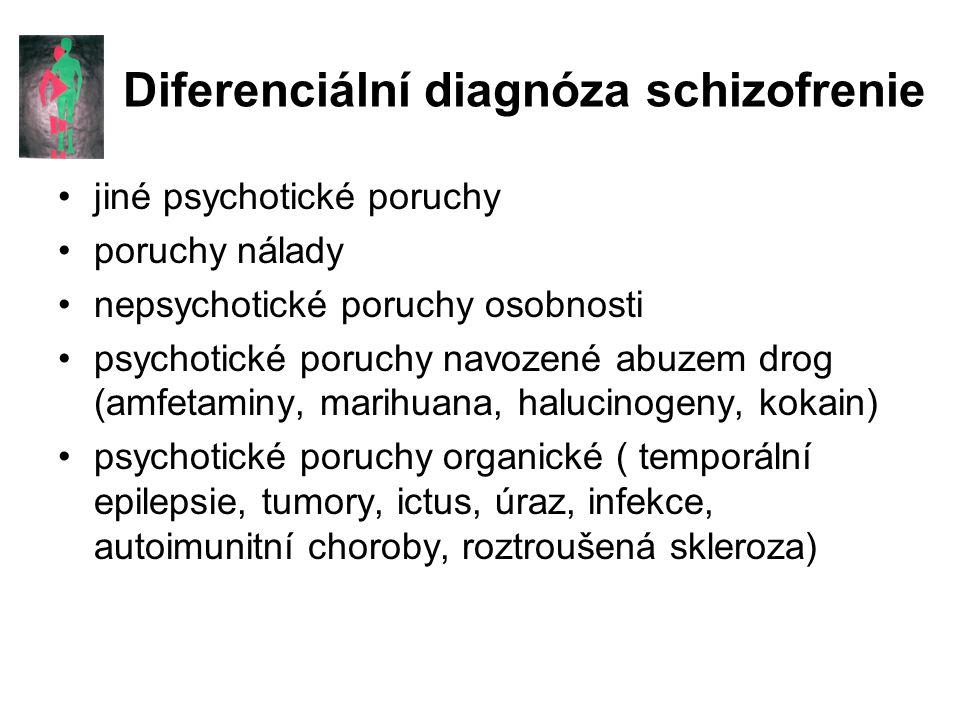 Diferenciální diagnóza schizofrenie jiné psychotické poruchy poruchy nálady nepsychotické poruchy osobnosti psychotické poruchy navozené abuzem drog (amfetaminy, marihuana, halucinogeny, kokain) psychotické poruchy organické ( temporální epilepsie, tumory, ictus, úraz, infekce, autoimunitní choroby, roztroušená skleroza)