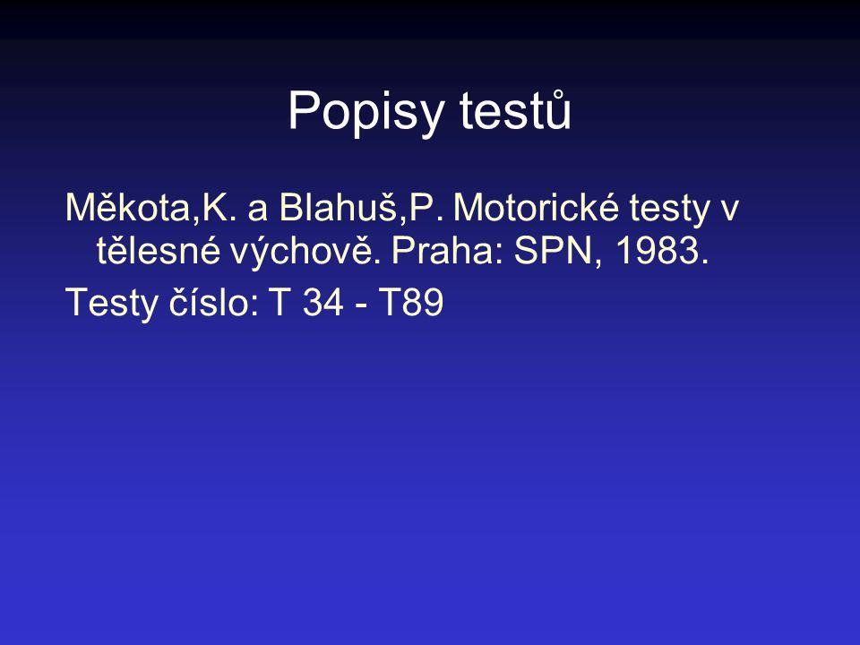 Popisy testů Měkota,K. a Blahuš,P. Motorické testy v tělesné výchově. Praha: SPN, 1983. Testy číslo: T 34 - T89