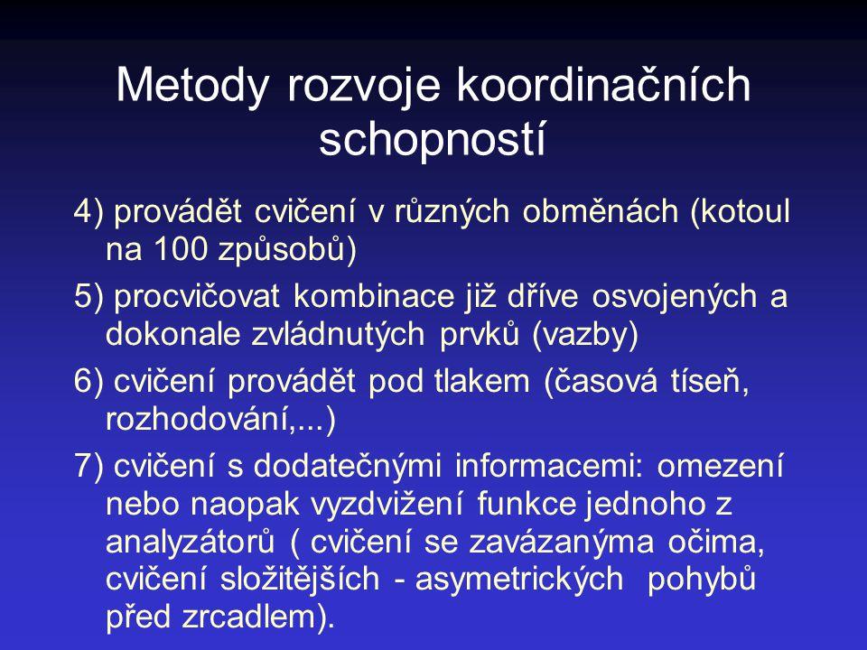 Metody rozvoje koordinačních schopností 4) provádět cvičení v různých obměnách (kotoul na 100 způsobů) 5) procvičovat kombinace již dříve osvojených a